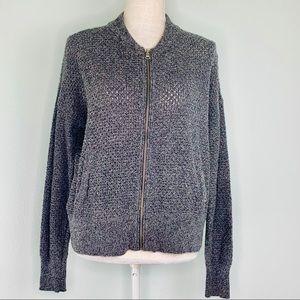 Gap Grey Knit Zip Up Sweater Jacket Sz L